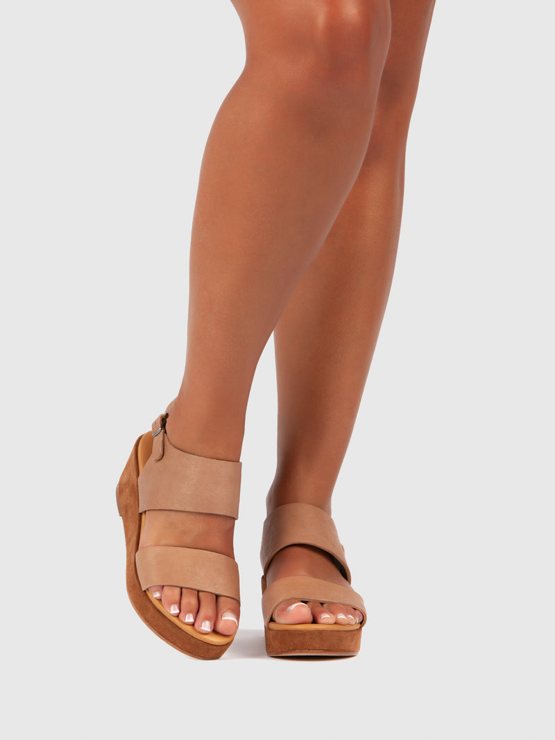Only2Me Light Brown Platform Sandals