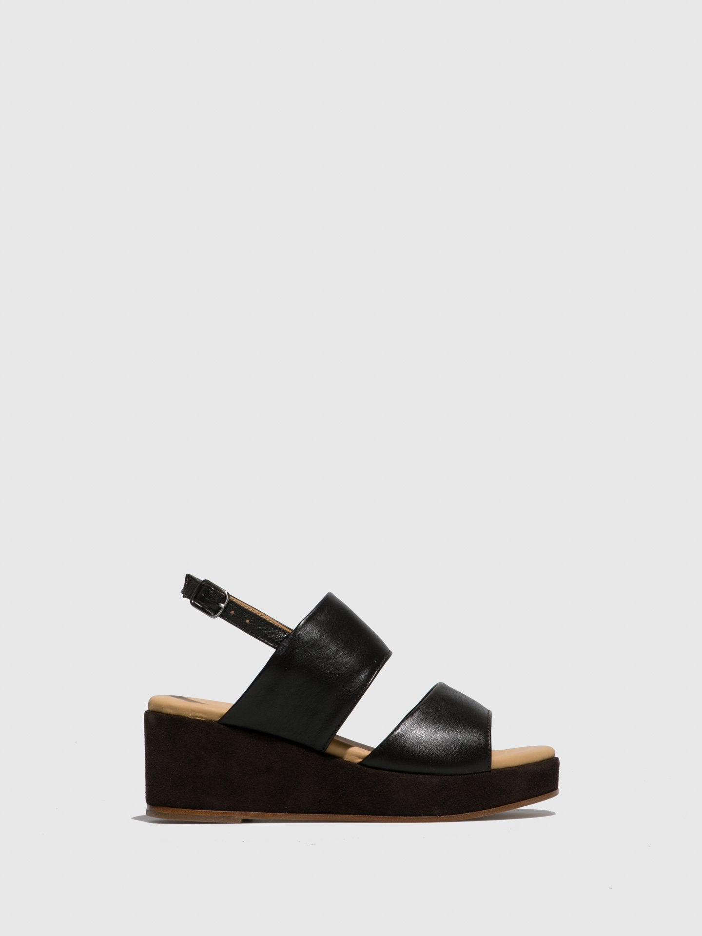 Only2me Black Wedge Sandals