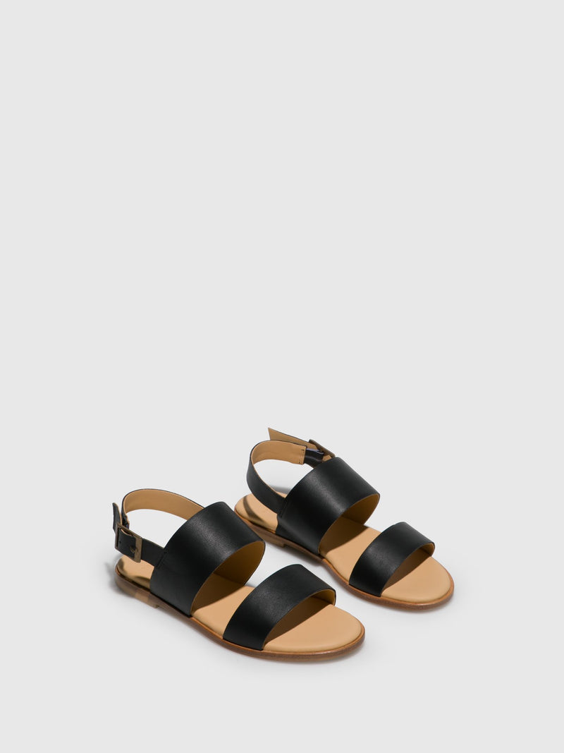 Only2me Black Sling-Back Sandals