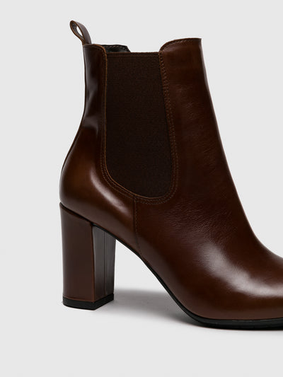 Only2me Brown Elasticated Ankle Boots