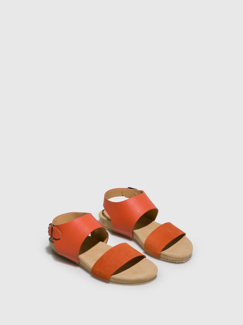 Orange Leather Strappy Sandals