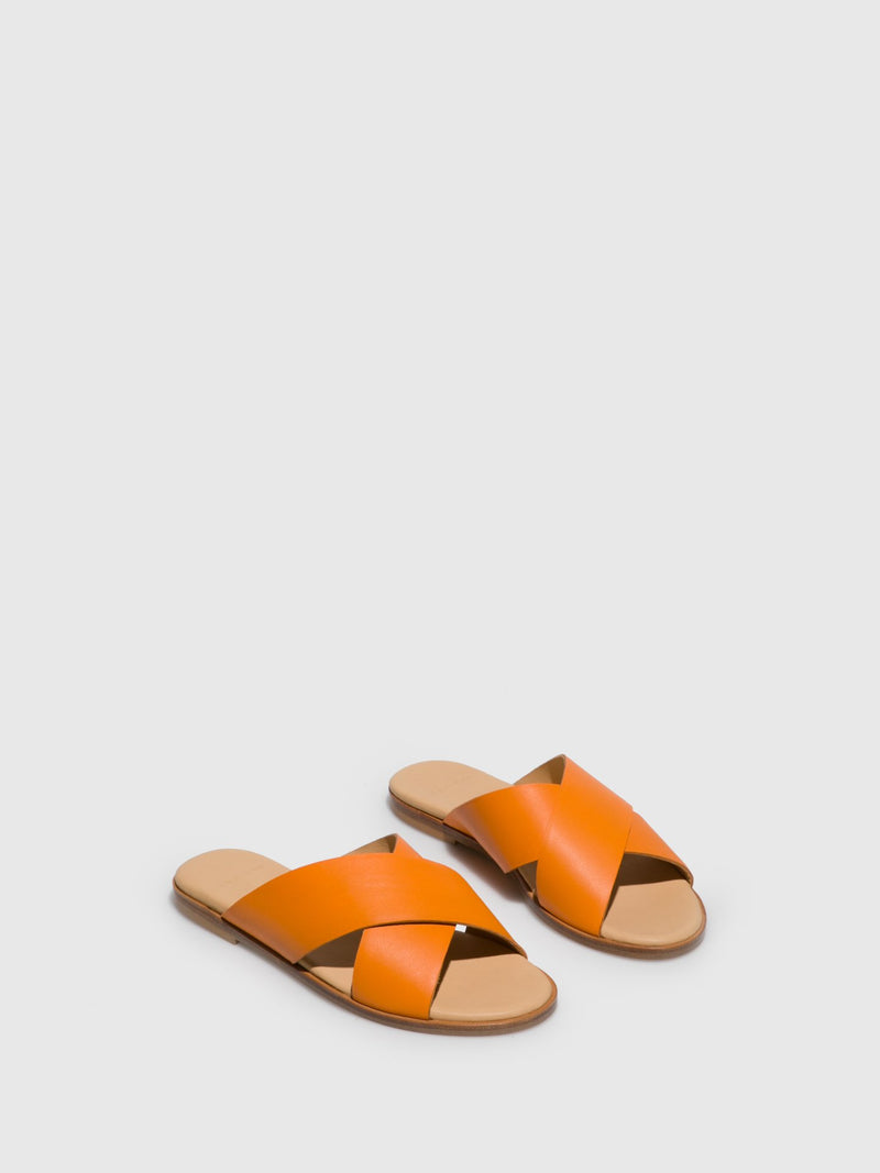 Orange Casual Slides