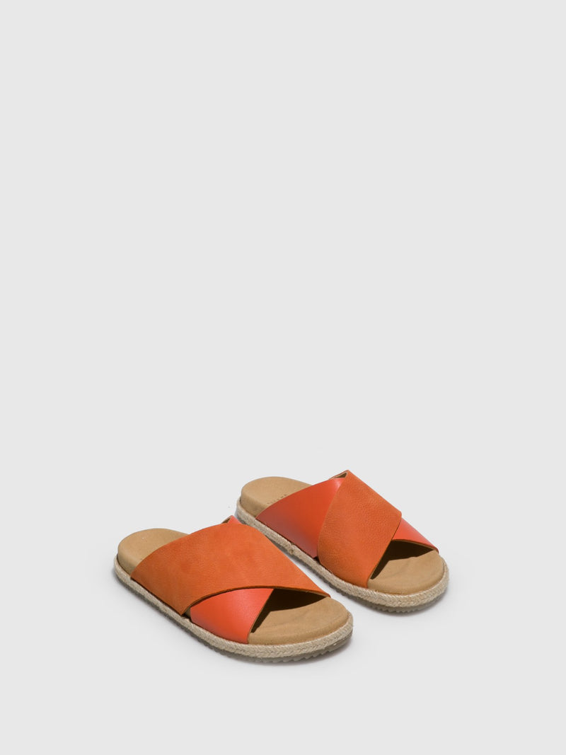 Orange Leather Casual Slides