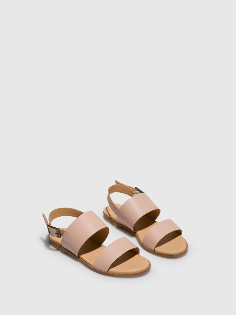 Only2me Pink Leather Sling-Back Sandals