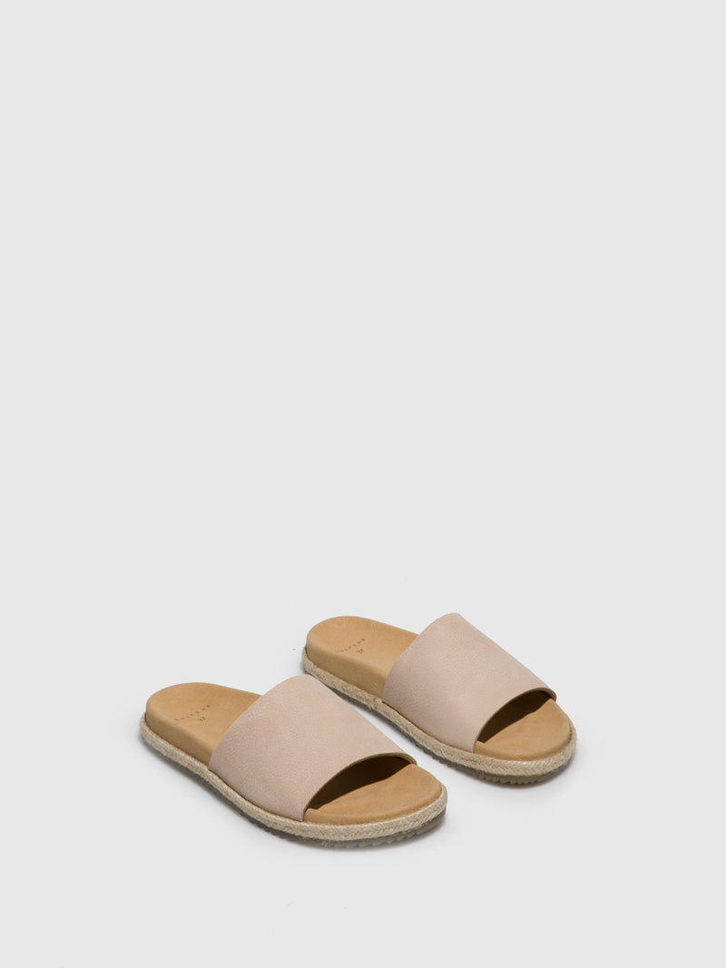 Beige Leather Casual Slides