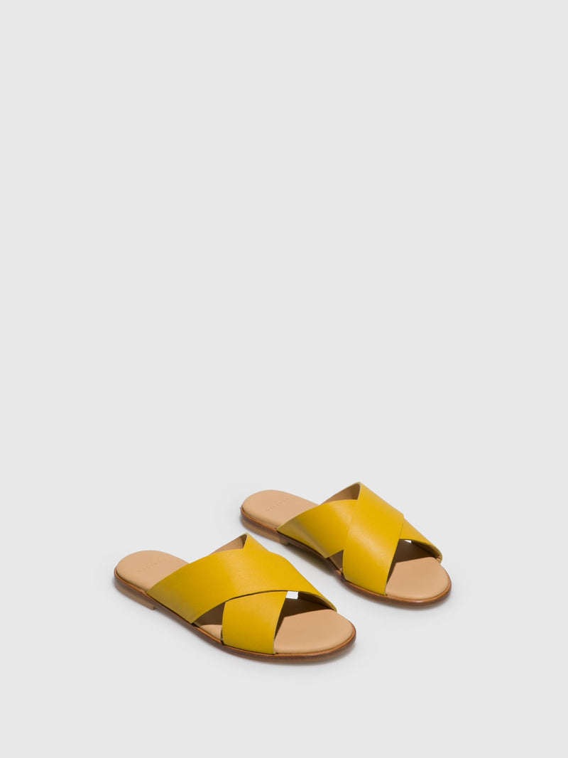 Yellow Casual Slides