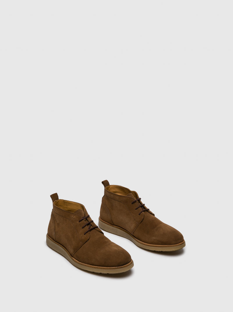 PARODI MILANO Camel Lace-up Ankle Boots