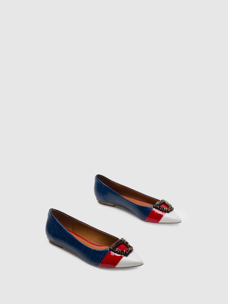 Navy Pointed Toe Ballerinas