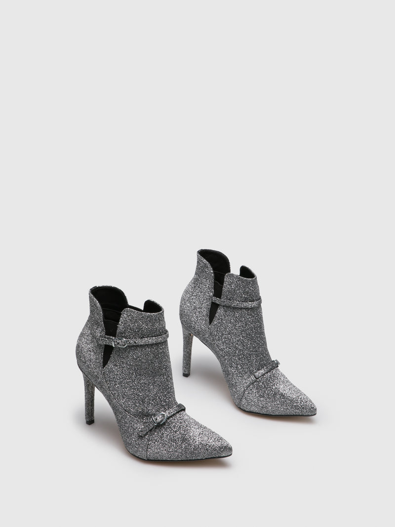 Silver Elasticated Ankle Boots