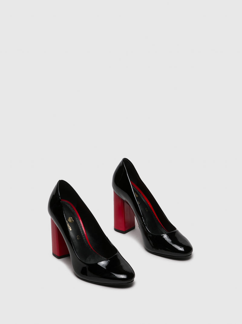 Red Black Round Toe Shoes