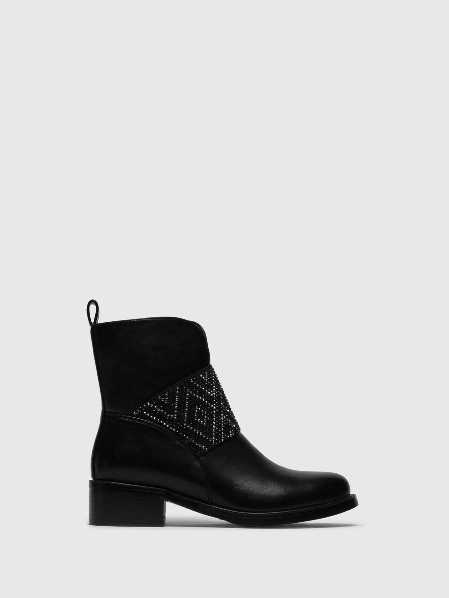 Parodi Sunshine Black Zip Up Ankle Boots