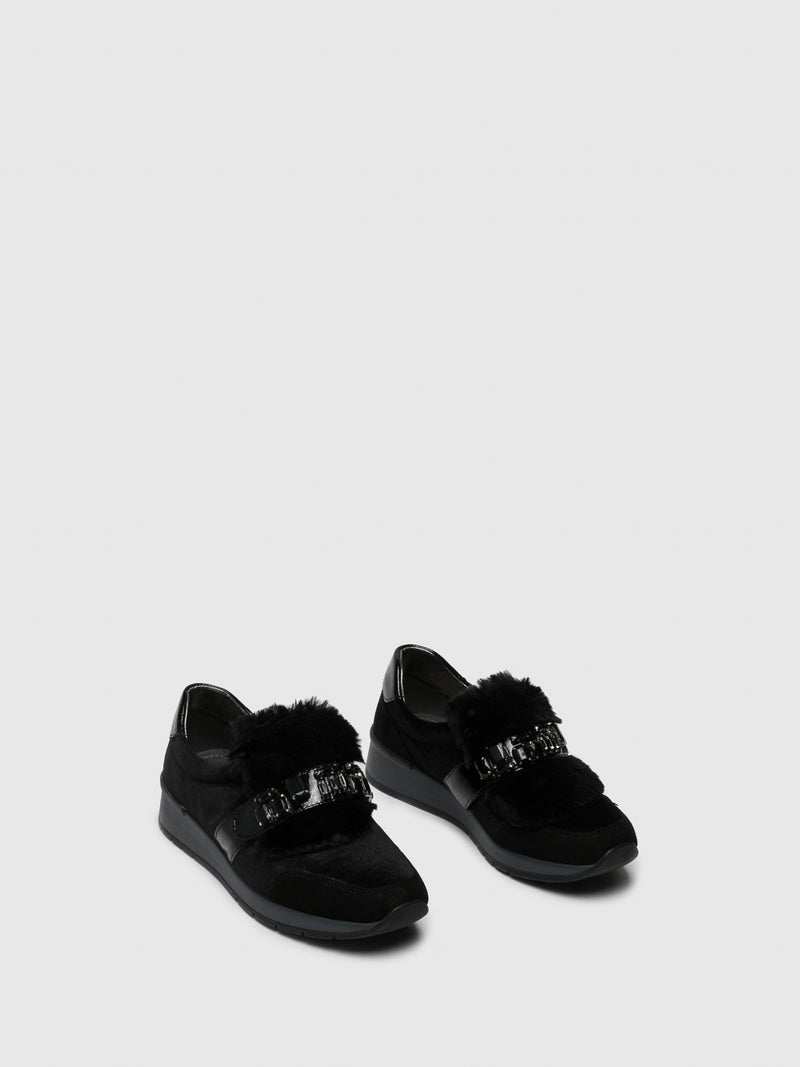 PARODI SUNSHINE Black Appliqués Trainers