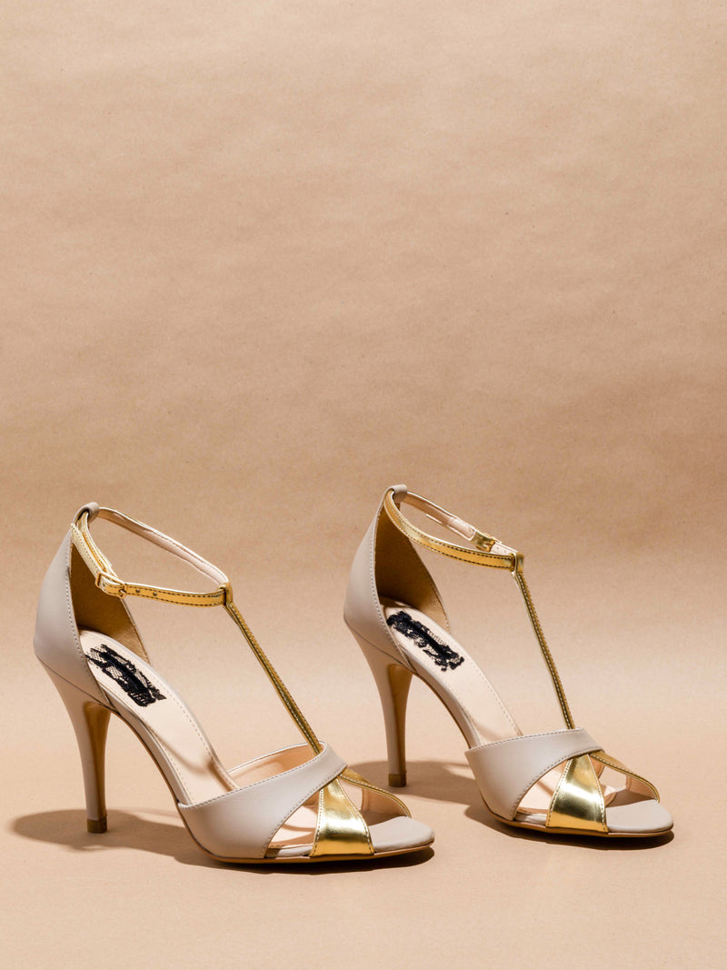 Beige Ankle Strap Sandals