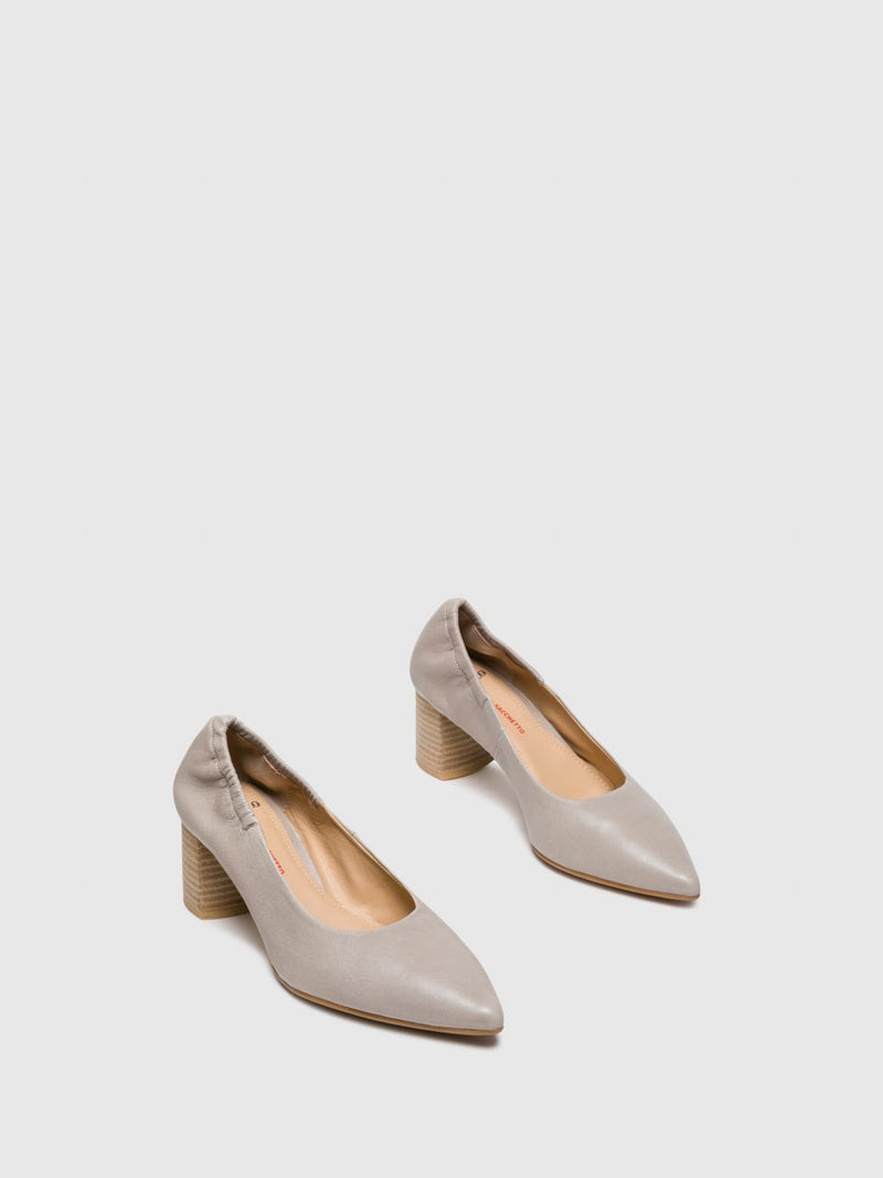 Perlato Tan Round Toe Pumps Shoes