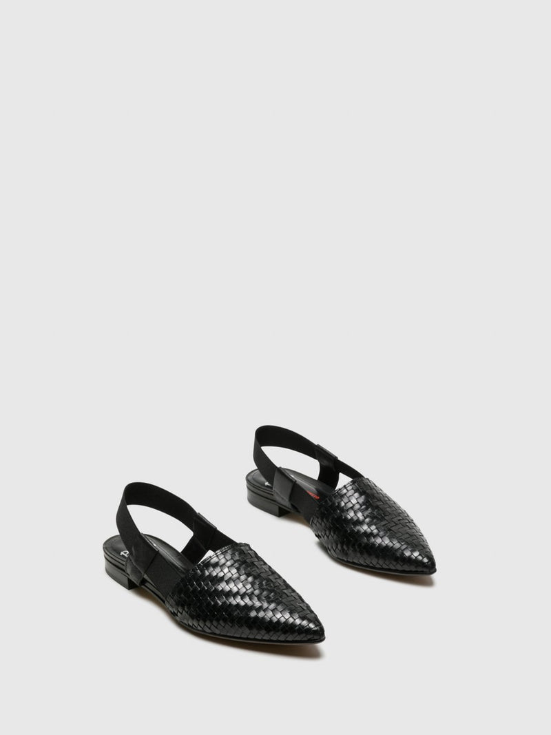 Perlato Black Sling-Back Pumps Shoes