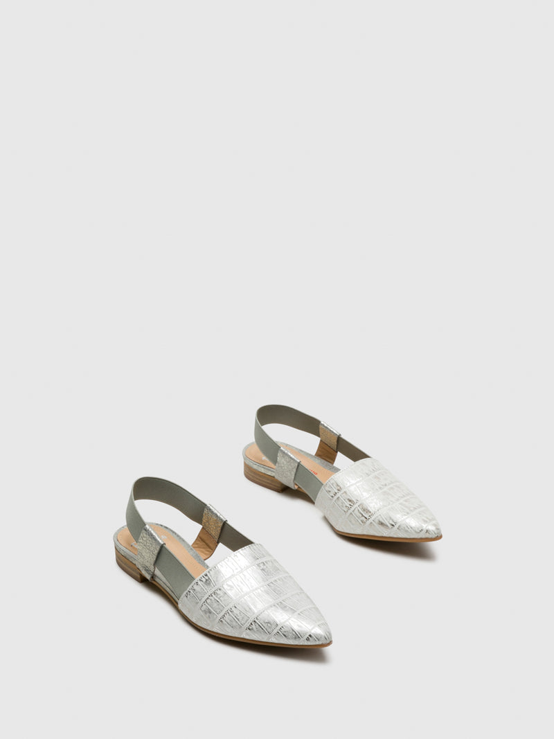 Perlato Silver Sling-Back Pumps Shoes