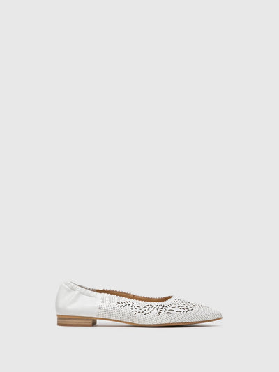 Perlato White Pointed Toe Ballerinas