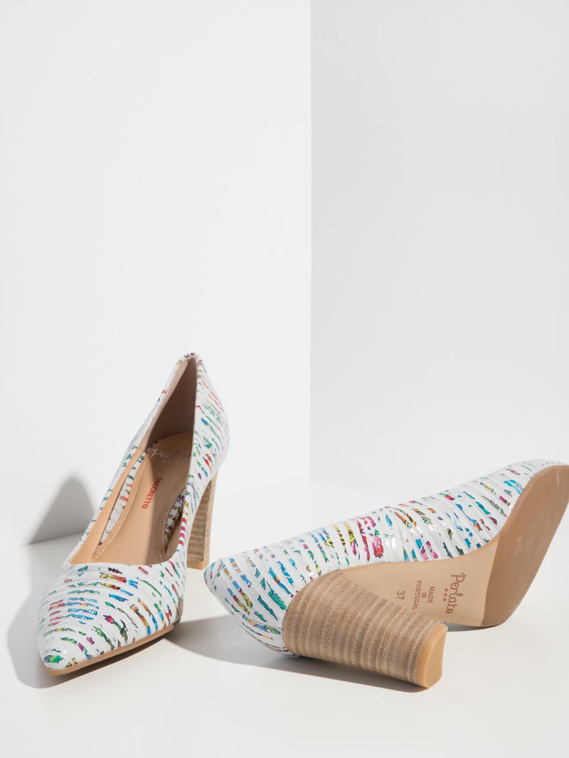 Multicolor Chunky Heel Shoes