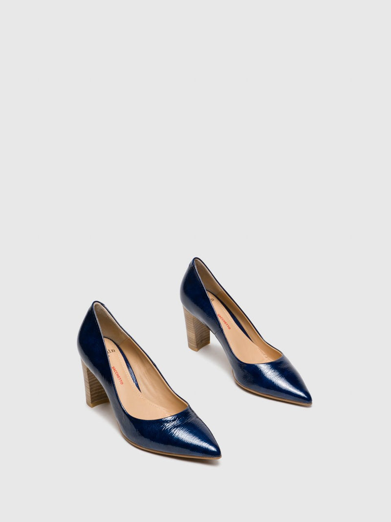 Perlato Navy Chunky Heel Shoes