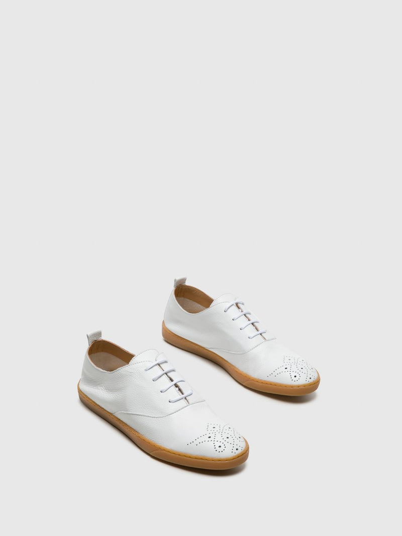 Perlato White Lace-up Shoes