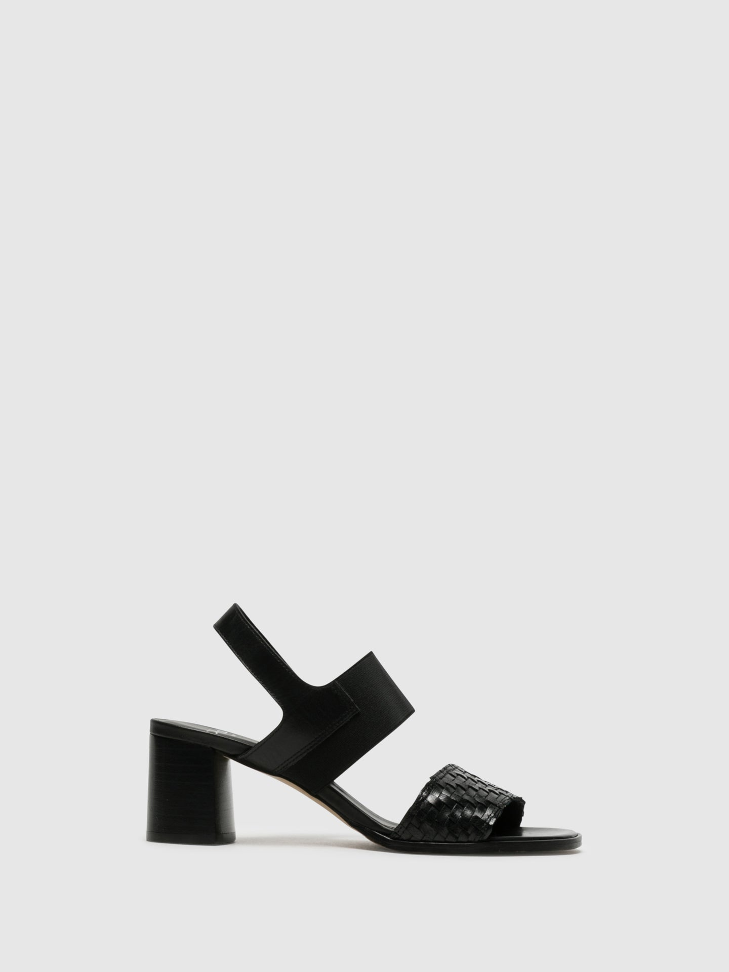 Perlato Black Sling-Back Sandals
