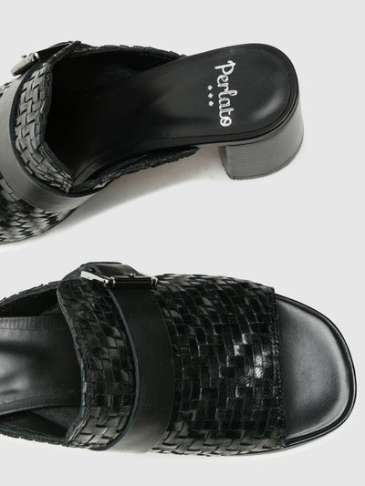 Perlato Black Open Toe Mules