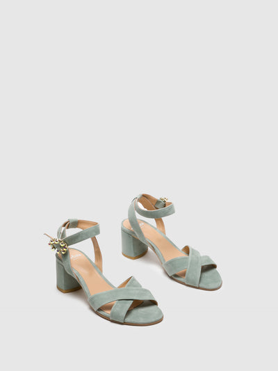 Perlato Green Buckle Sandals