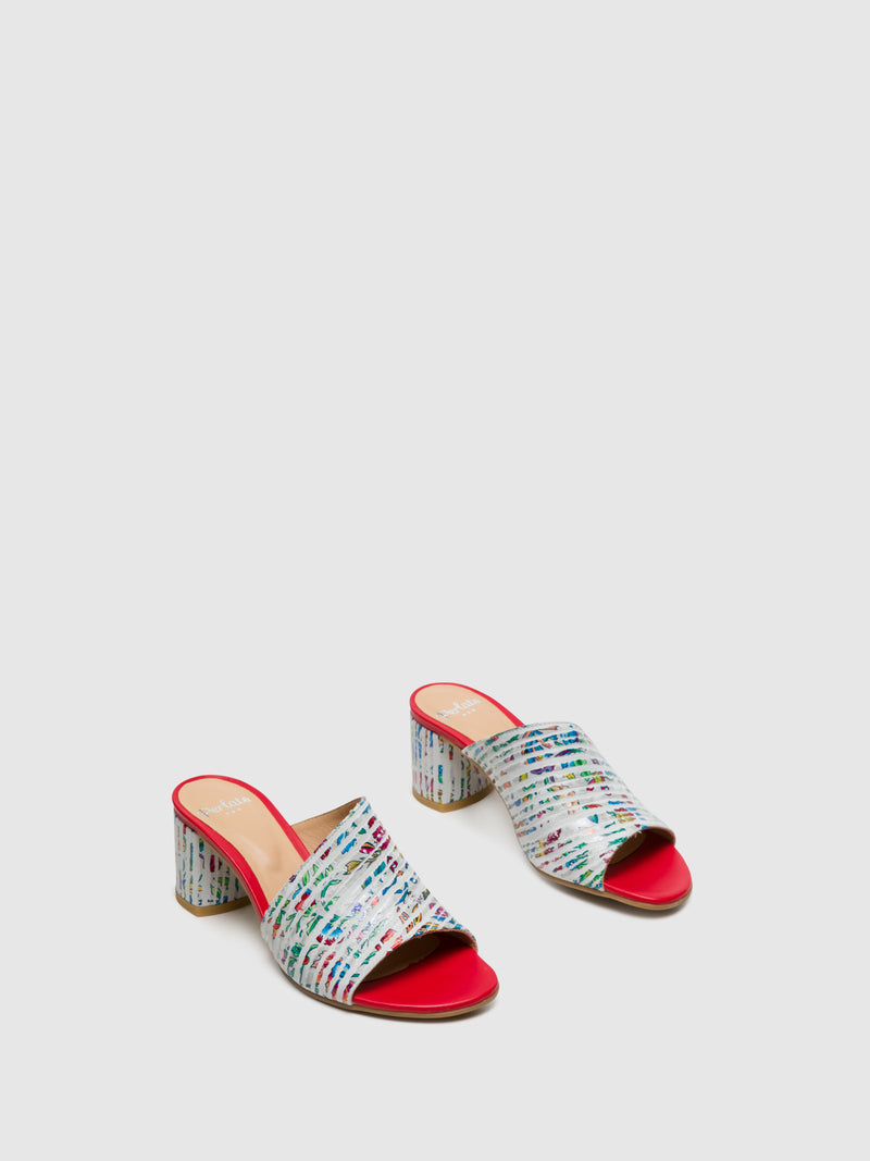 Perlato Red Open Toe Mules