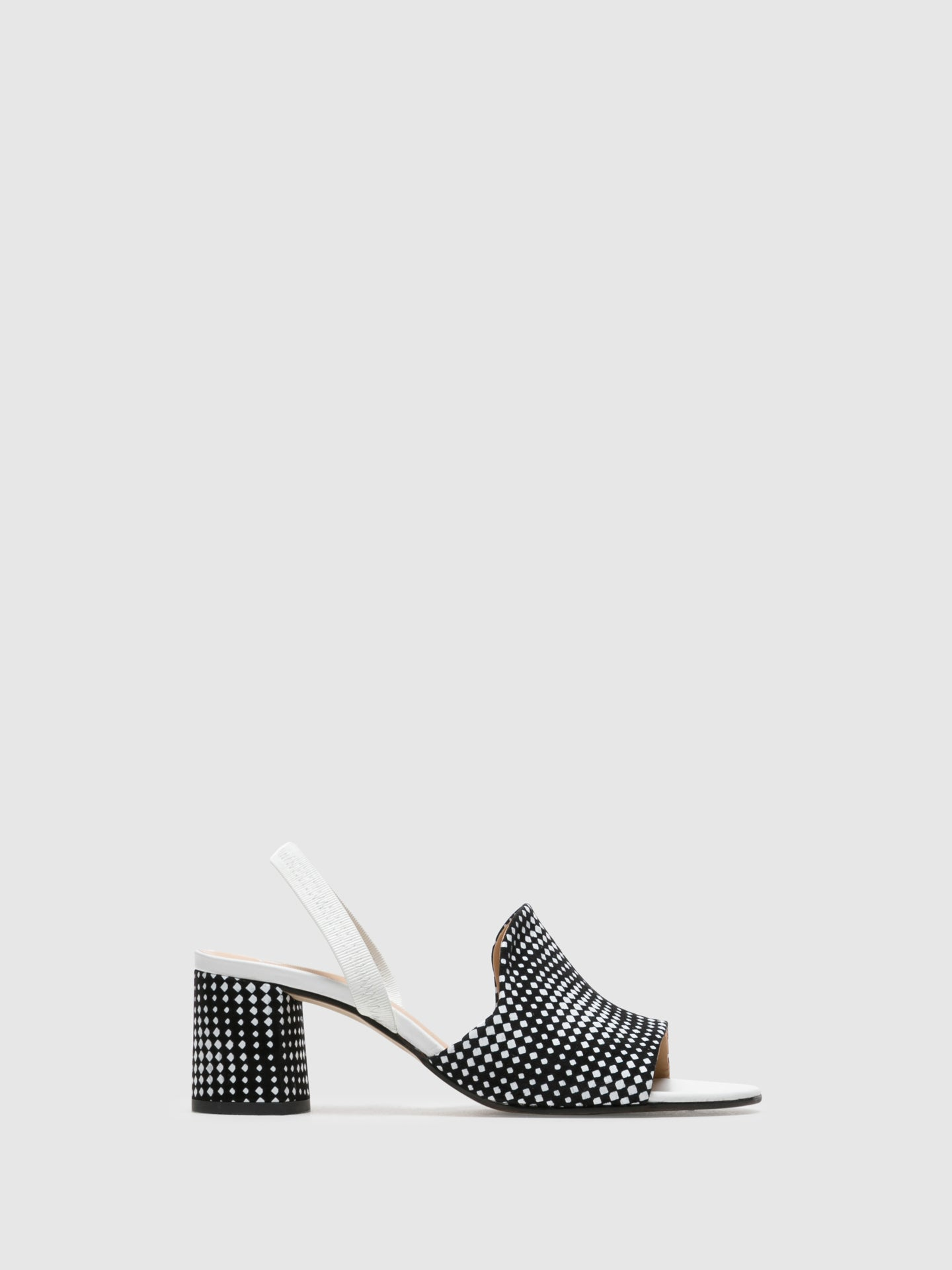 Perlato Black White Sling-Back Sandals