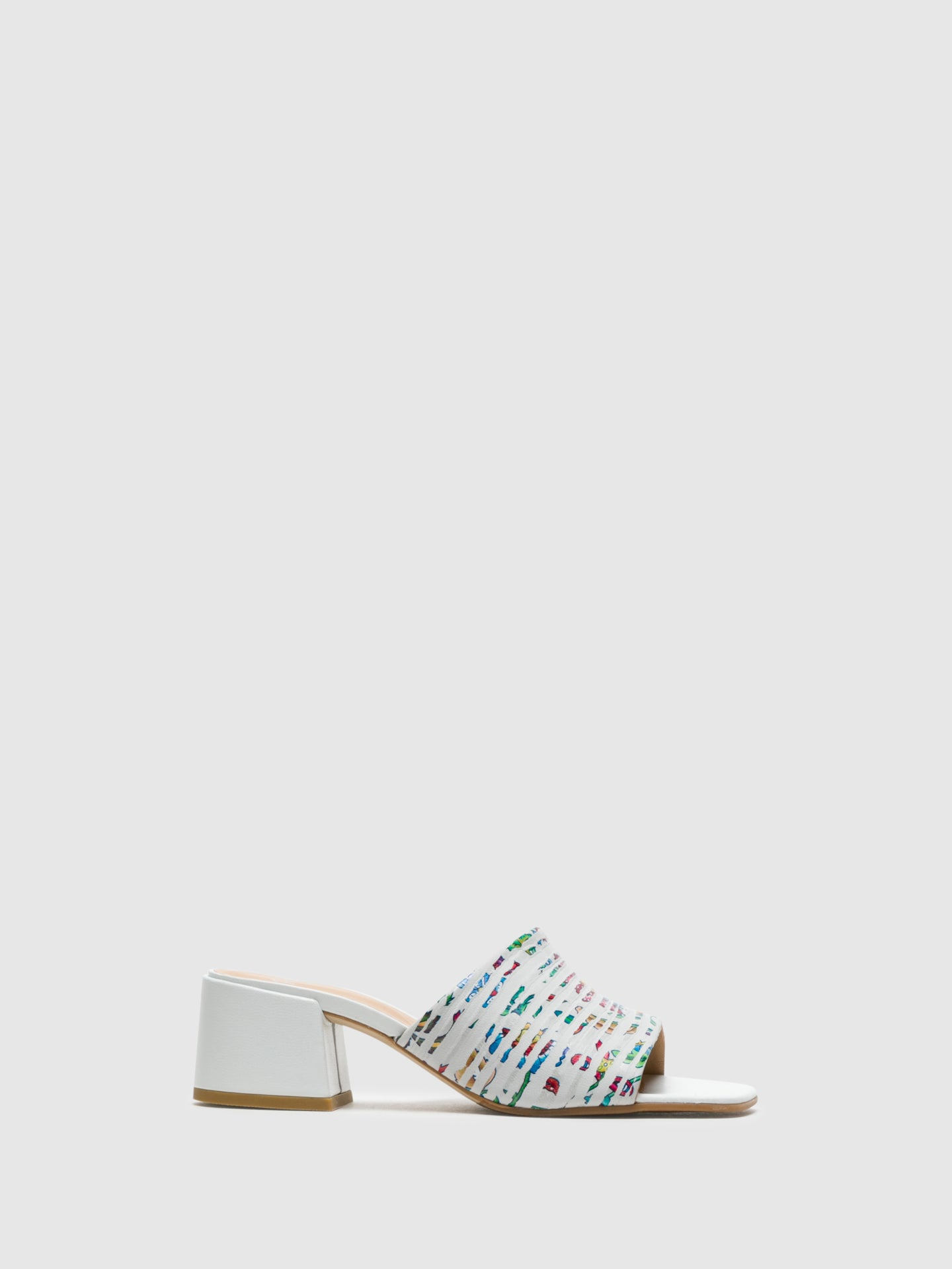 Perlato White Open Toe Mules