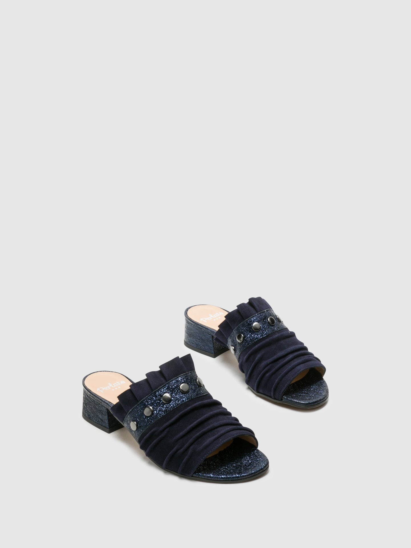 Perlato Blue Open Toe Mules