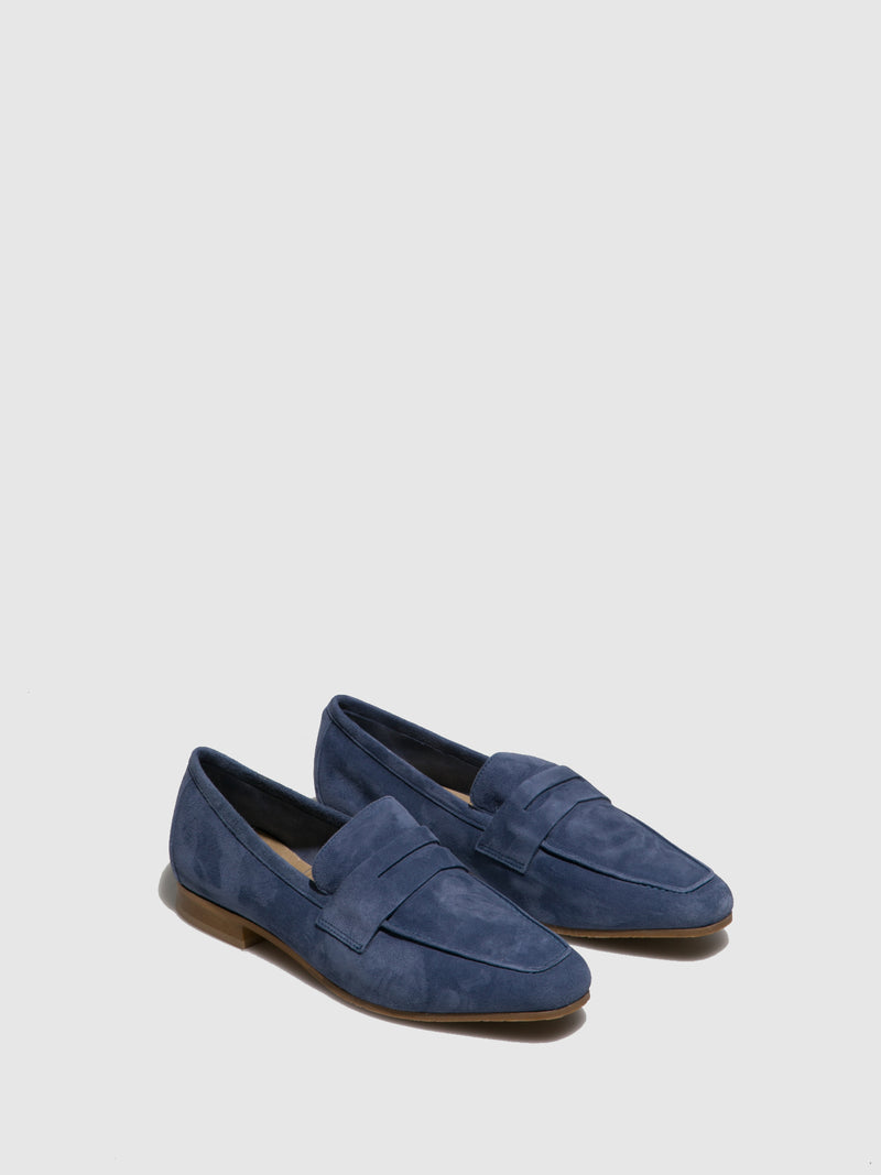 Perlato Blue Suede Mocassins Shoes