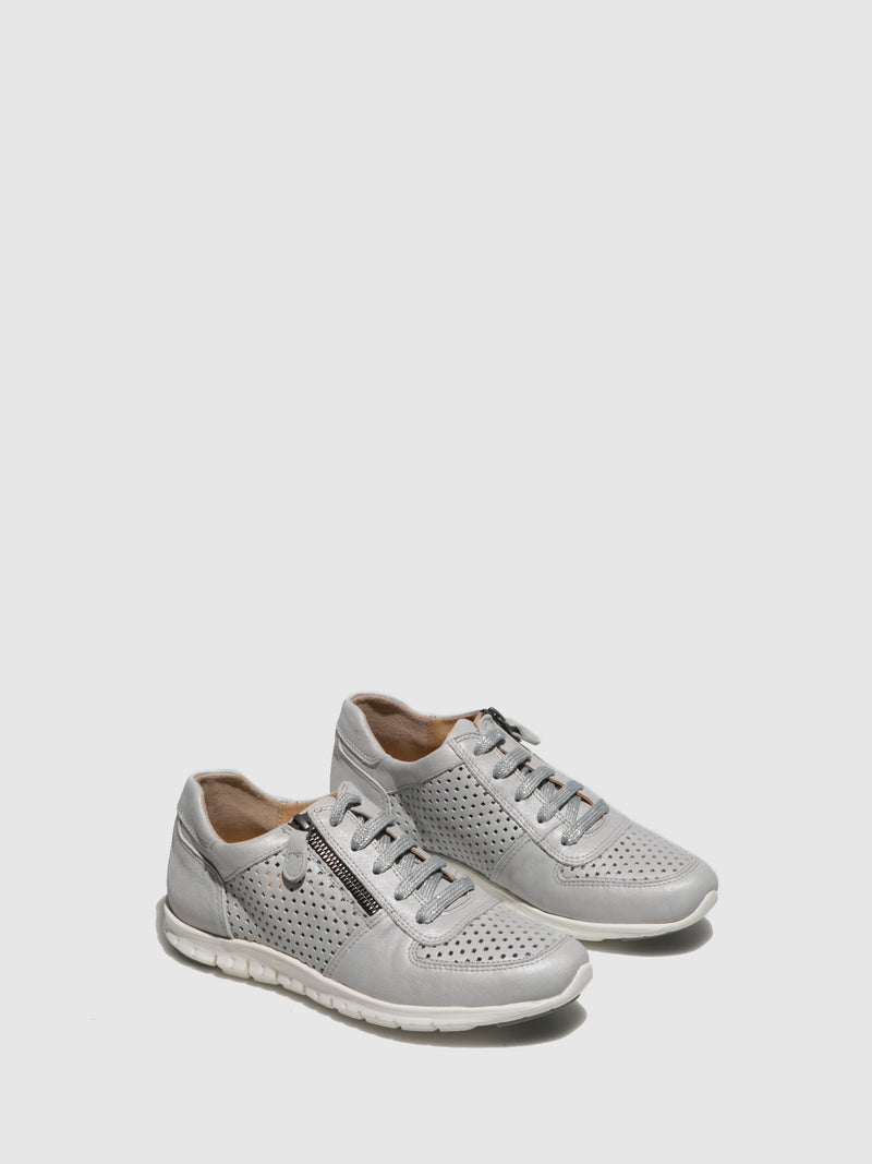Perlato Silver Lace-up Trainers