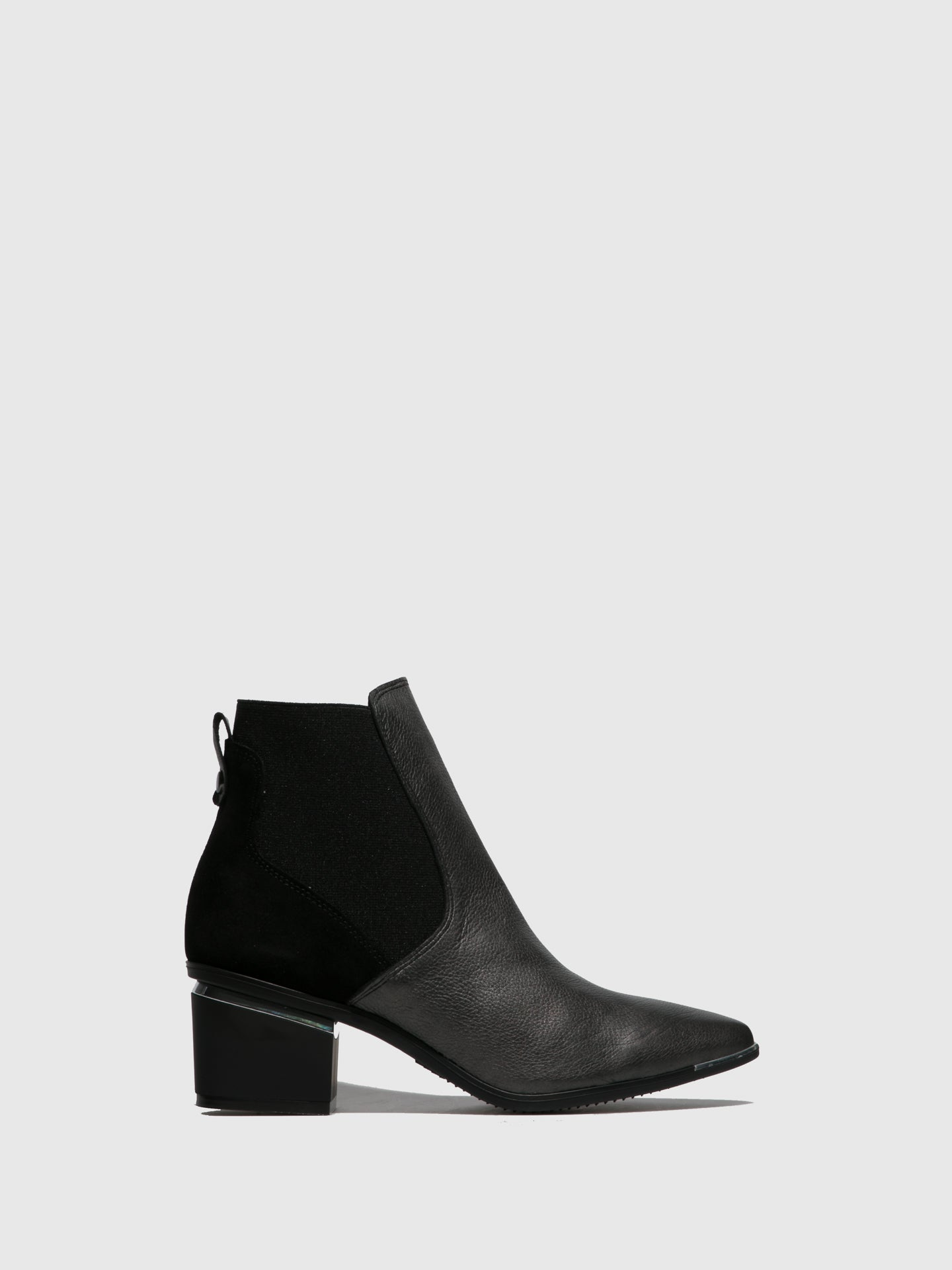 Perlato Silver Black Zip Up Ankle Boots