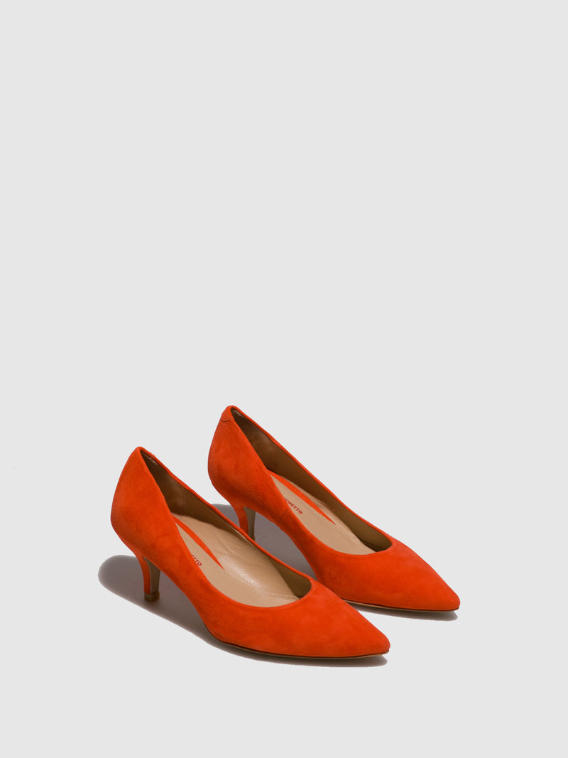 Perlato Orange Pointed Toe Shoes