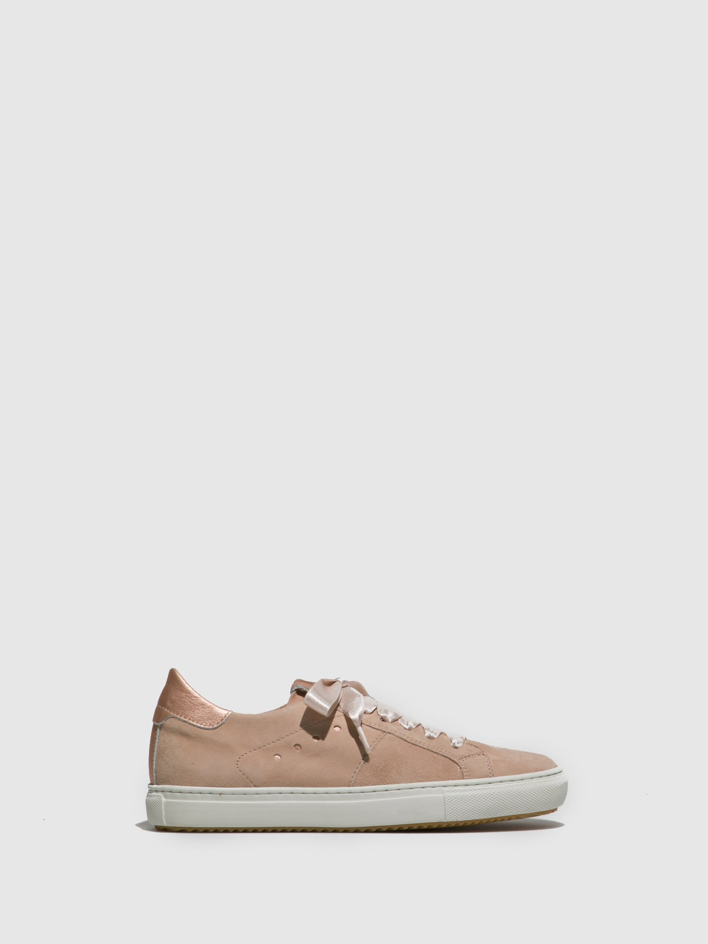 Perlato Nude Lace-up Trainers