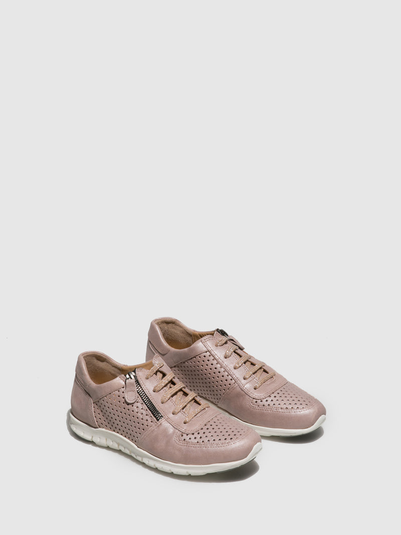 Perlato Pink Lace-up Trainers