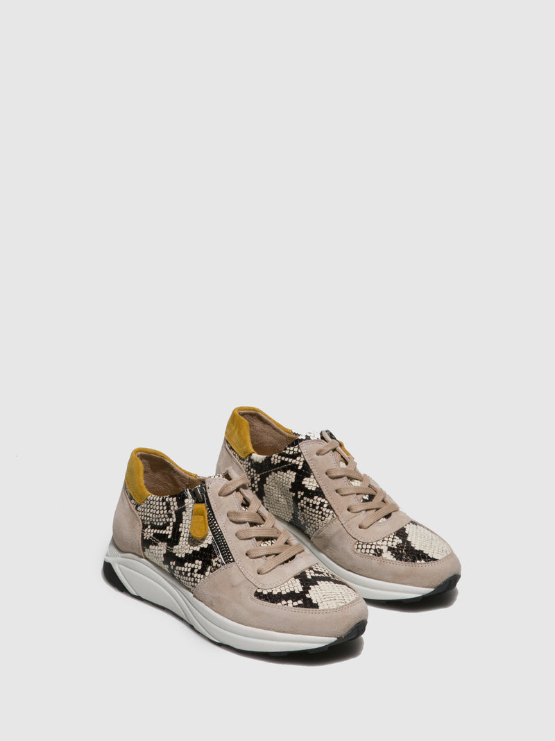 Perlato Beige Lace-up Trainers