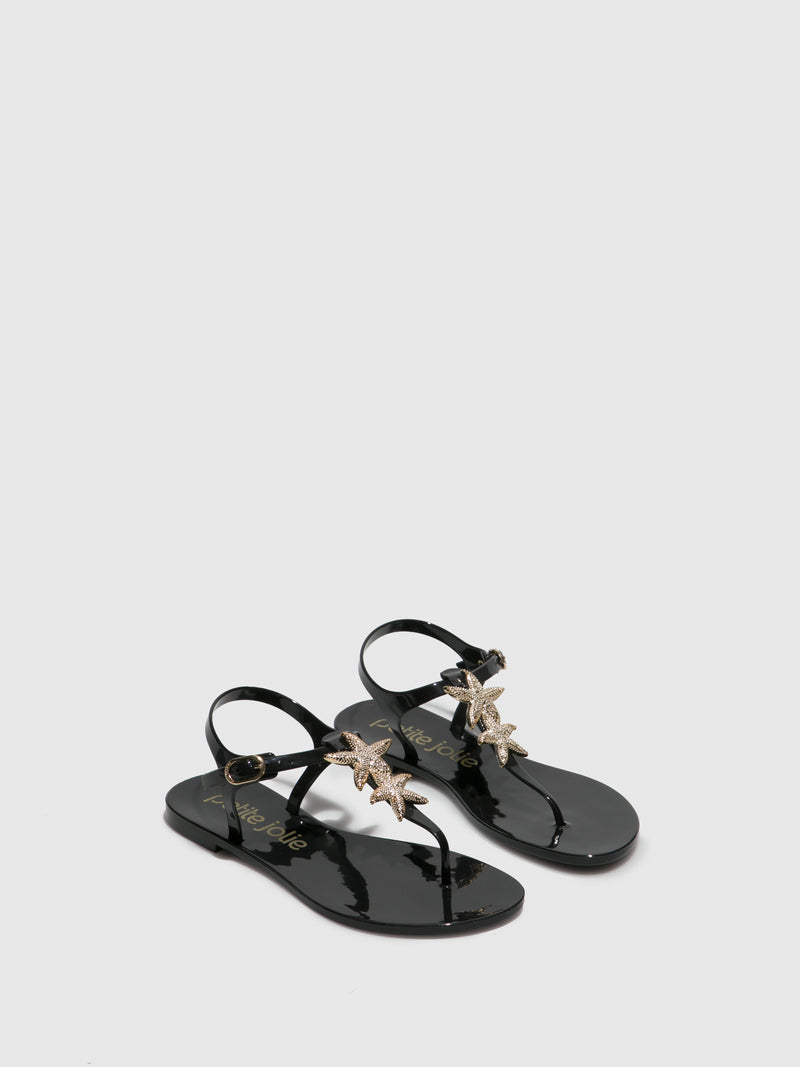 Black Appliqués Sandals