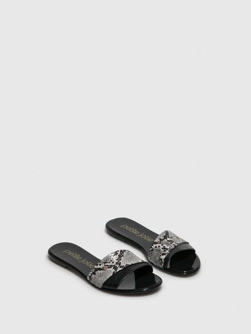 Black White Flat Mules