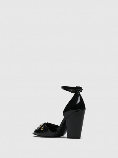 PETITE JOLIE by PARODI Black Sling-Back Pumps Sandals