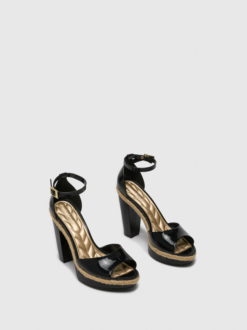 Black Sling-Back Pumps Sandals