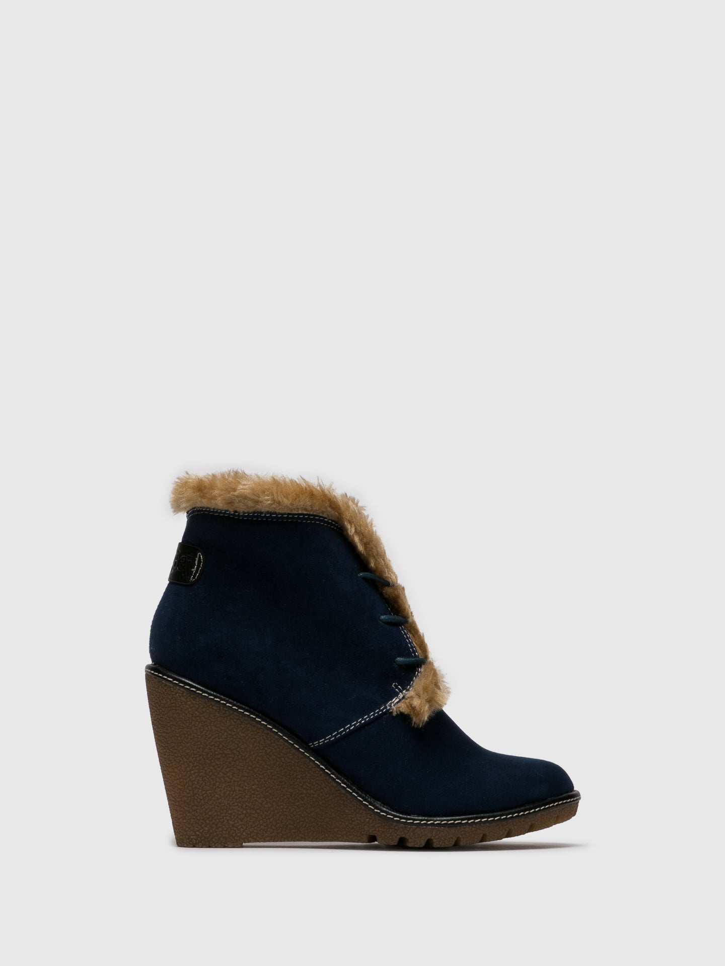 Pixie Navy Wedge Ankle Boots
