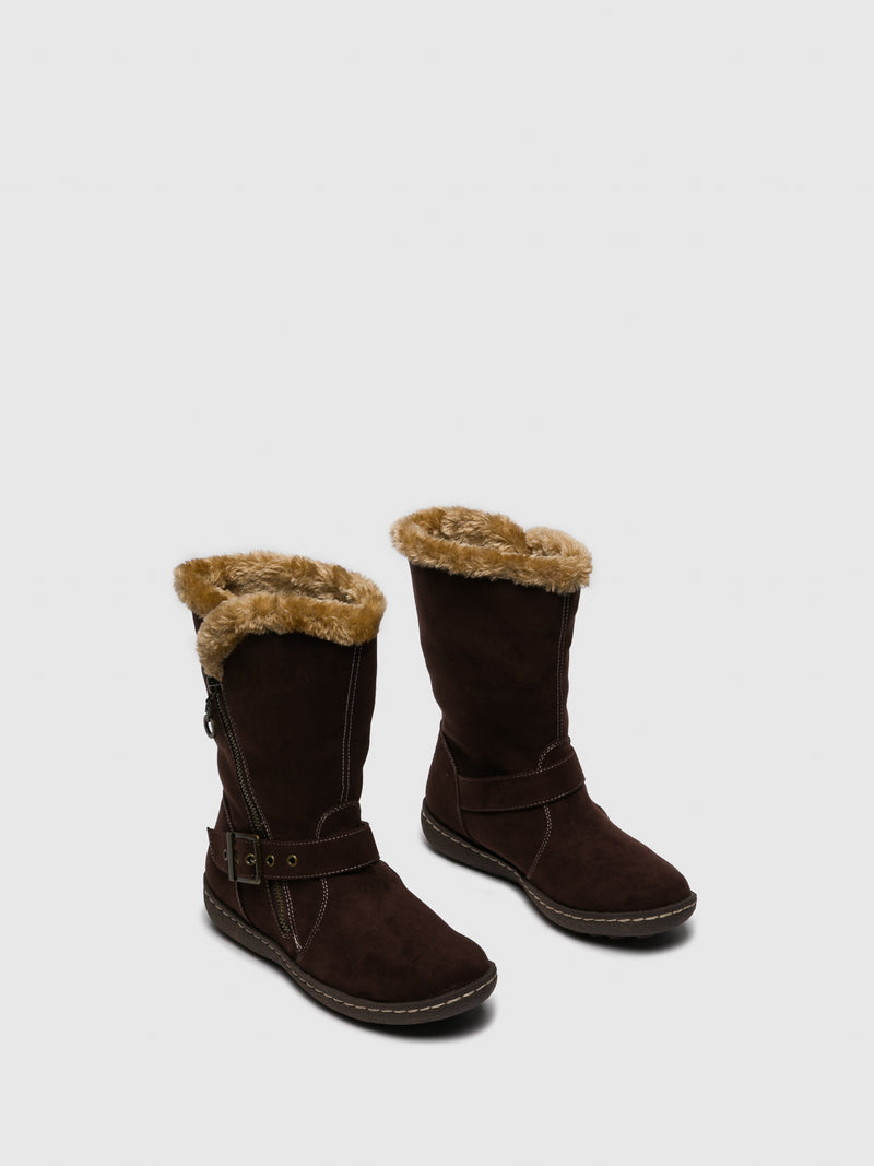 PIXIE Chocolate Zip Up Boots