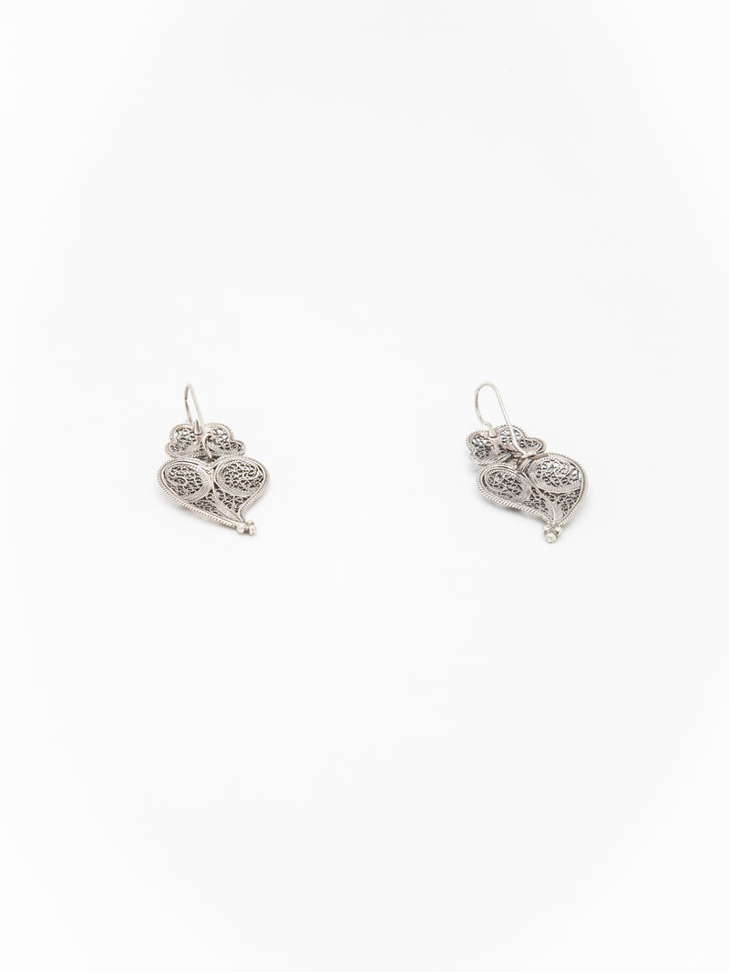 Portugal Jewels Silver Heart of Viana Hook Earrings