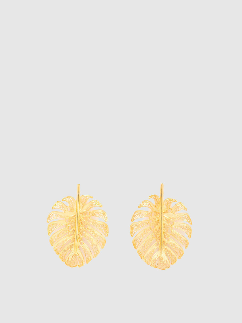 Gold Leaf-shaped Earrings