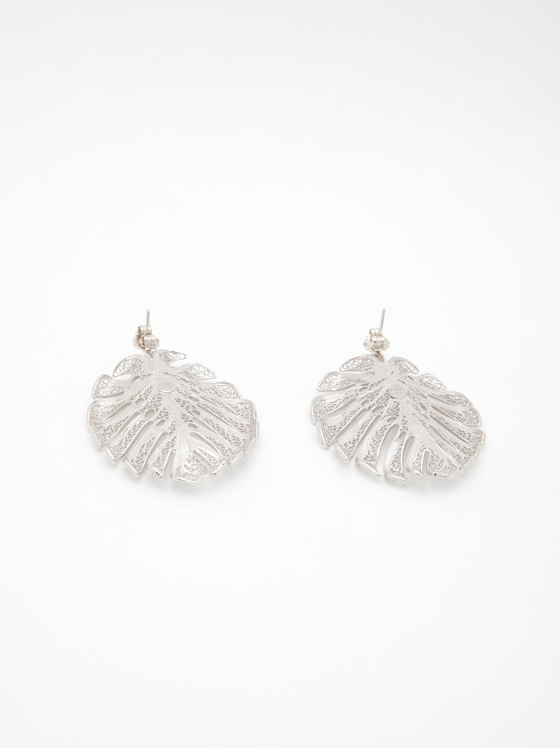 Silver Leaf-shaped Earrings