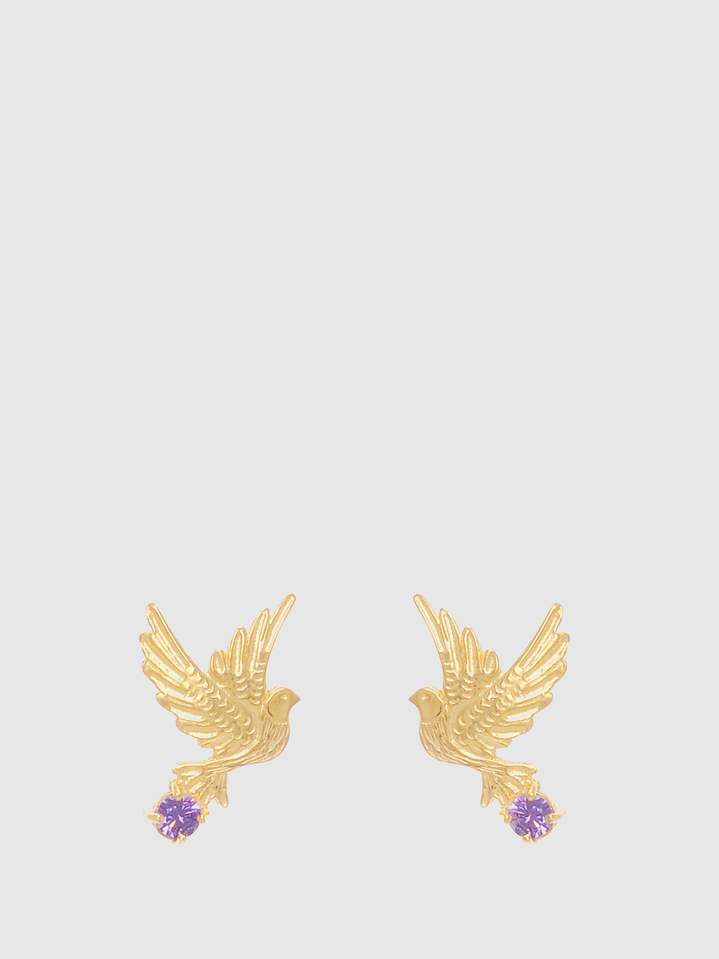 Portugal Jewels Purple Stones Dove Earrings