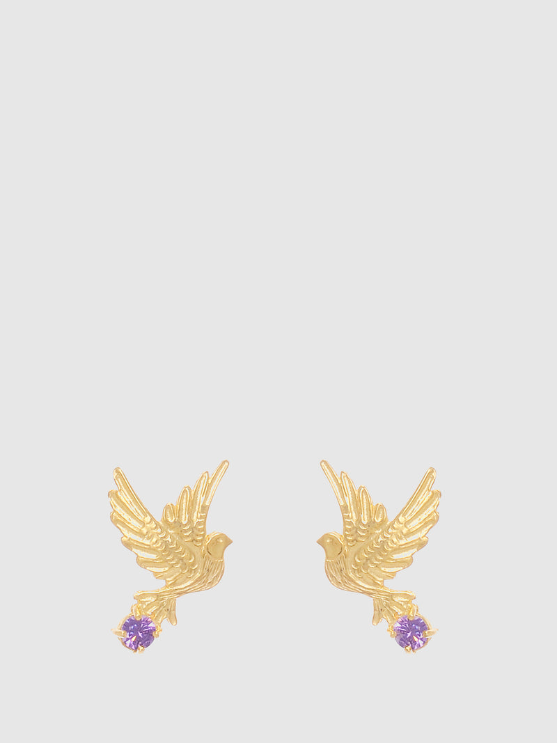 Purple Stones Dove Earrings