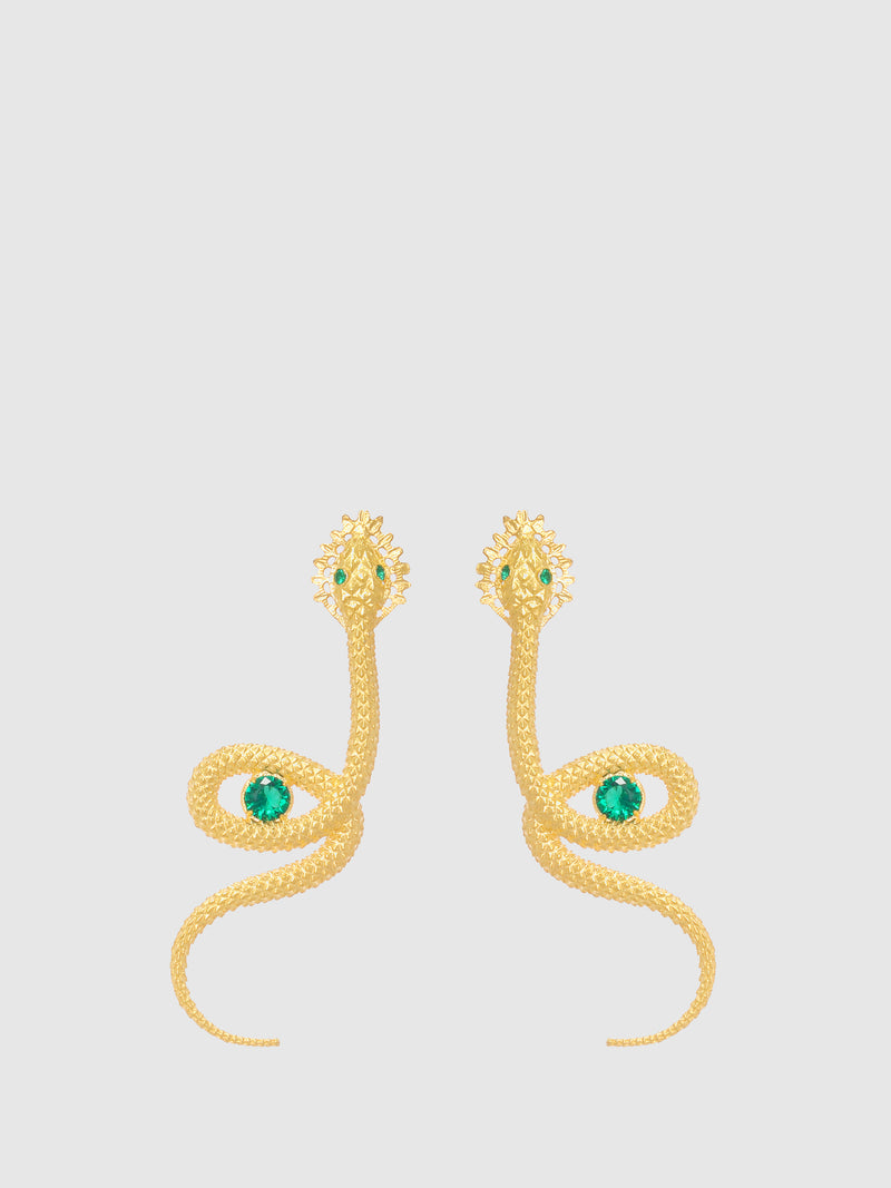 Green Snake Long Earrings